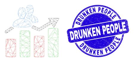 Web mesh visitors bar chart icon and Drunken People seal. Blue vector rounded scratched seal stamp with Drunken People caption. Illusztráció