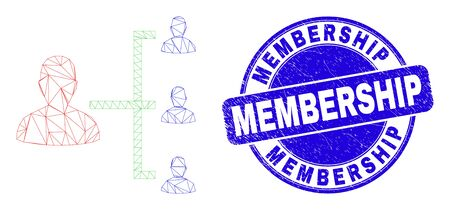 Web mesh people hierarchy pictogram and Membership watermark. Blue vector round grunge watermark with Membership phrase. Abstract frame mesh polygonal model created from people hierarchy pictogram.