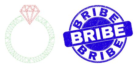 Web mesh jewelry ring pictogram and Bribe seal stamp. Blue vector rounded scratched seal with Bribe title. Abstract frame mesh polygonal model created from jewelry ring pictogram. Ilustracja