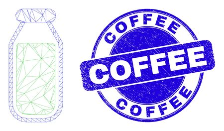 Web mesh drinking bottle pictogram and Coffee seal stamp. Blue vector rounded grunge seal with Coffee phrase. Abstract carcass mesh polygonal model created from drinking bottle pictogram.