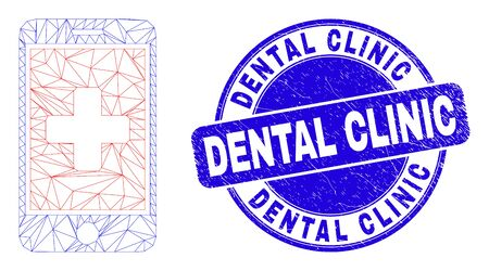 Web mesh medical mobile app icon and Dental Clinic seal stamp. Blue vector rounded scratched seal with Dental Clinic message. Banque d'images - 149594853