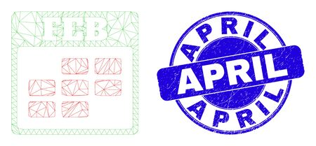 Web carcass february calendar icon and April stamp. Blue vector rounded grunge seal stamp with April caption. Abstract carcass mesh polygonal model created from february calendar icon.