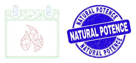 Web mesh hot calendar leaf icon and Natural Potence stamp. Blue vector rounded scratched seal stamp with Natural Potence phrase. Ilustrace