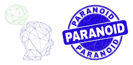 Web mesh head thinking cloud pictogram and Paranoid seal stamp. Blue vector round textured seal stamp with Paranoid text.