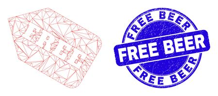 Web mesh free tag icon and Free Beer seal. Blue vector rounded scratched stamp with Free Beer caption. Abstract carcass mesh polygonal model created from free tag icon.