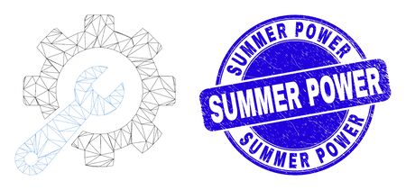 Web mesh service tools icon and Summer Power seal. Blue vector rounded grunge stamp with Summer Power phrase. Abstract frame mesh polygonal model created from service tools icon. Archivio Fotografico - 149594223