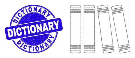 Web mesh books icon and Dictionary seal stamp. Blue vector round grunge seal stamp with Dictionary title. Abstract frame mesh polygonal model created from books icon.  イラスト・ベクター素材