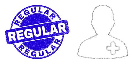 Web mesh doctor icon and Regular seal stamp. Blue vector rounded distress seal stamp with Regular caption. Abstract frame mesh polygonal model created from doctor icon. Vektoros illusztráció