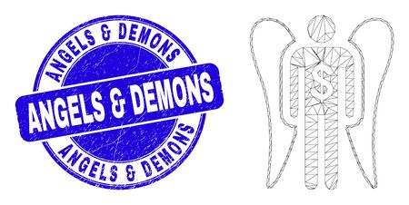 Web mesh angel investor pictogram and Angels & Demons seal stamp. Blue vector round textured stamp with Angels & Demons message. Abstract carcass mesh polygonal model created from angel investor icon. Çizim