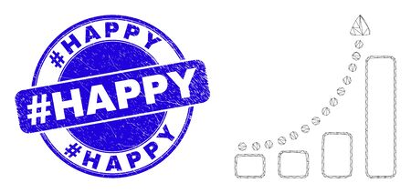 Web mesh fast growing trend pictogram and #Happy stamp. Blue vector rounded scratched stamp with #Happy title. Abstract carcass mesh polygonal model created from fast growing trend pictogram. Vecteurs