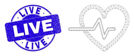 Web mesh heart pulse icon and Live seal. Blue vector rounded scratched seal stamp with Live text. Abstract carcass mesh polygonal model created from heart pulse icon. Ilustração