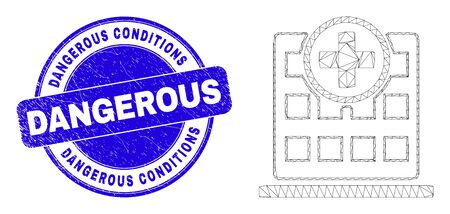 Web mesh hospital building icon and Dangerous Conditions seal. Blue vector round distress seal stamp with Dangerous Conditions caption.