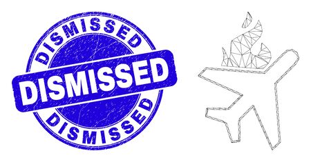 Web carcass fired airplane icon and Dismissed seal stamp. Blue vector round textured stamp with Dismissed caption. Abstract carcass mesh polygonal model created from fired airplane icon. Vettoriali