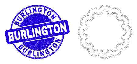 Web mesh inner gear icon and Burlington seal stamp. Blue vector rounded grunge seal with Burlington phrase. Abstract frame mesh polygonal model created from inner gear icon.