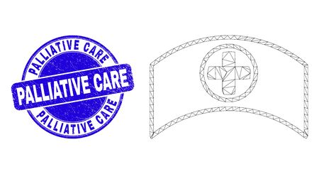 Web mesh medical cap icon and Palliative Care seal stamp. Blue vector rounded grunge seal stamp with Palliative Care phrase. Abstract carcass mesh polygonal model created from medical cap icon.
