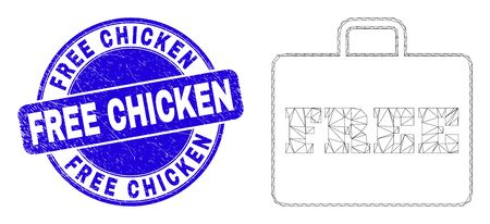 Web mesh free case icon and Free Chicken seal stamp. Blue vector round distress seal with Free Chicken title. Abstract carcass mesh polygonal model created from free case icon.