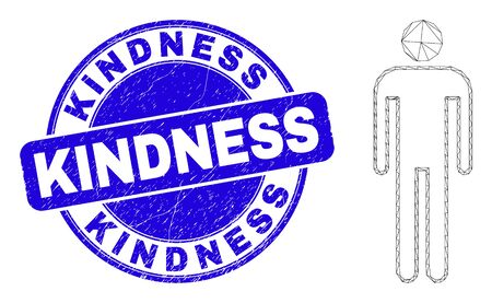 Web carcass man pictogram and Kindness seal stamp. Blue vector round scratched seal stamp with Kindness caption. Abstract carcass mesh polygonal model created from man pictogram.