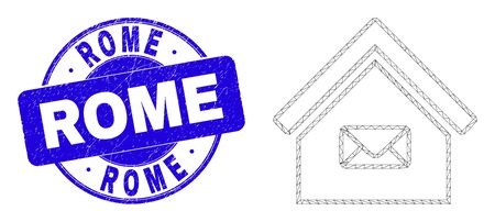 Web mesh post office icon and Rome seal stamp. Blue vector round textured seal stamp with Rome phrase. Abstract frame mesh polygonal model created from post office icon. Stock fotó - 149768291