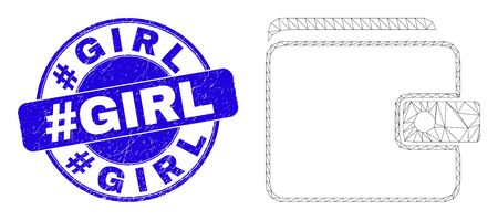 Web mesh purse pictogram and #Girl seal stamp. Blue vector round grunge stamp with #Girl message. Abstract frame mesh polygonal model created from purse pictogram.