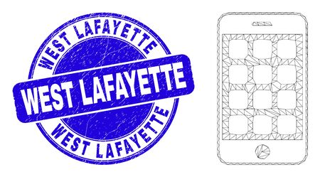 Web mesh mobile phone pictogram and West Lafayette stamp. Blue vector rounded distress stamp with West Lafayette text. Abstract frame mesh polygonal model created from mobile phone pictogram. Иллюстрация