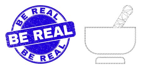 Web mesh mortar icon and Be Real seal stamp. Blue vector round textured seal stamp with Be Real caption. Abstract carcass mesh polygonal model created from mortar pictogram. Ilustrace