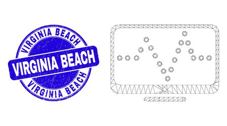 Web mesh online dotted chart pictogram and Virginia Beach seal stamp. Blue vector rounded scratched seal stamp with Virginia Beach text. Ilustracja