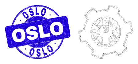 Web mesh repair gear pictogram and Oslo seal. Blue vector round scratched seal with Oslo title. Abstract frame mesh polygonal model created from repair gear pictogram.