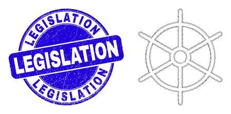 Web mesh ship rule wheel pictogram and Legislation stamp. Blue vector rounded scratched seal stamp with Legislation caption.