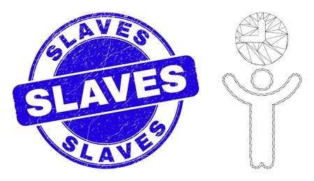 Web mesh time manager icon and Slaves stamp. Blue vector rounded scratched stamp with Slaves title. Abstract carcass mesh polygonal model created from time manager pictogram.