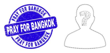 Web carcass unknown person pictogram and Pray for Bangkok seal stamp. Blue vector rounded distress seal stamp with Pray for Bangkok message. Vektoros illusztráció
