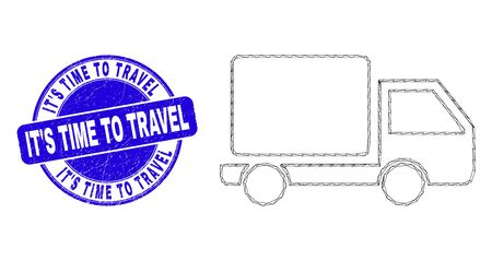 Web mesh lorry icon and ItS Time to Travel seal. Blue vector round distress seal stamp with ItS Time to Travel text. Abstract frame mesh polygonal model created from lorry icon.