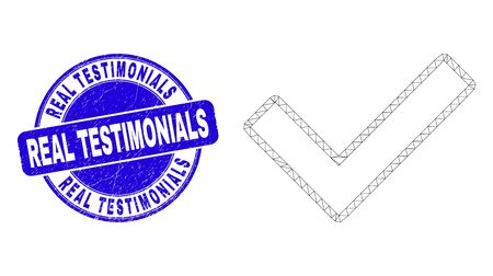Web mesh validated tick icon and Real Testimonials seal stamp. Blue vector rounded textured stamp with Real Testimonials phrase.