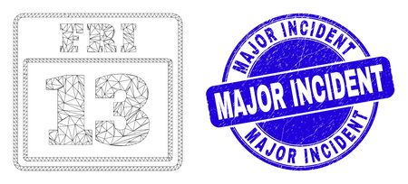 Web carcass 13 friday calendar page icon and Major Incident seal stamp. Blue vector rounded scratched seal with Major Incident message. 向量圖像