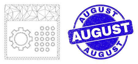 Web carcass calendar settings pictogram and August stamp. Blue vector rounded grunge stamp with August title. Abstract carcass mesh polygonal model created from calendar settings icon.