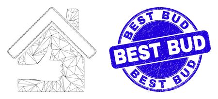 Web mesh best house icon and Best Bud stamp. Blue vector round grunge seal stamp with Best Bud caption. Abstract carcass mesh polygonal model created from best house icon.