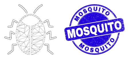 Web mesh bug pictogram and Mosquito seal stamp. Blue vector rounded distress stamp with Mosquito title. Abstract carcass mesh polygonal model created from bug pictogram. Illustration