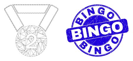 Web mesh 2nd place medal pictogram and Bingo seal. Blue vector round grunge seal stamp with Bingo phrase. Abstract carcass mesh polygonal model created from 2nd place medal pictogram.