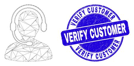 Web carcass call center operator icon and Verify Customer watermark. Blue vector round textured watermark with Verify Customer title. Vettoriali