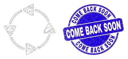 Web mesh CCW circulation arrows icon and Come Back Soon seal stamp. Blue vector rounded scratched seal stamp with Come Back Soon caption. Vettoriali