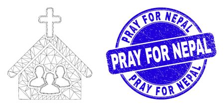 Web carcass church people pictogram and Pray for Nepal seal stamp. Blue vector round textured stamp with Pray for Nepal title. Abstract frame mesh polygonal model created from church people pictogram.