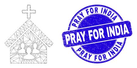 Web carcass church people pictogram and Pray for India seal stamp. Blue vector round scratched seal with Pray for India phrase.