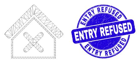 Web carcass closed house icon and Entry Refused stamp. Blue vector rounded distress stamp with Entry Refused message. Abstract carcass mesh polygonal model created from closed house icon.