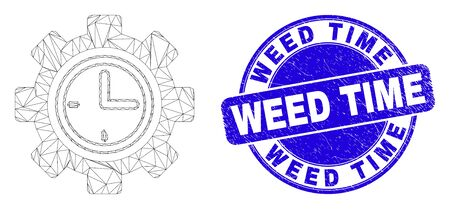 Web carcass clock setup wheel pictogram and Weed Time watermark. Blue vector round distress watermark with Weed Time text. Stock Illustratie