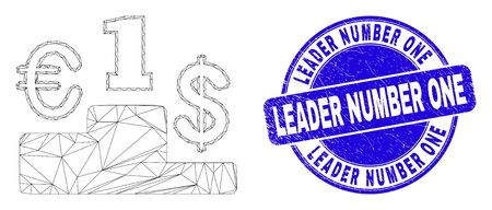 Web mesh currency pedestal pictogram and Leader Number One stamp. Blue vector round distress watermark with Leader Number One title. Vectores