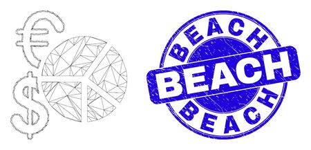 Web carcass currency pie chart icon and Beach seal stamp. Blue vector rounded distress seal stamp with Beach caption. Abstract carcass mesh polygonal model created from currency pie chart icon.