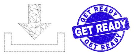 Web carcass download pictogram and Get Ready seal. Blue vector rounded textured seal stamp with Get Ready title. Abstract carcass mesh polygonal model created from download pictogram.