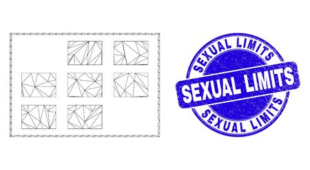 Web carcass grid cells icon and Sexual Limits watermark. Blue vector round textured seal with Sexual Limits text. Abstract carcass mesh polygonal model created from grid cells icon.