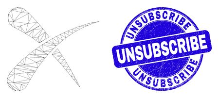 Web mesh erase pictogram and Unsubscribe stamp. Blue vector rounded textured stamp with Unsubscribe text. Abstract carcass mesh polygonal model created from erase pictogram.