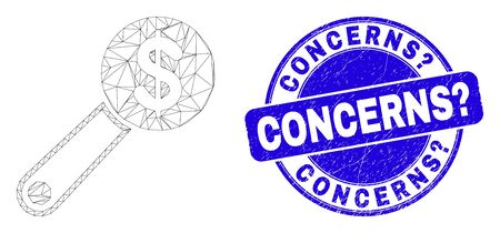 Web mesh financial audit icon and Concerns? seal. Blue vector round distress seal with Concerns? phrase. Abstract carcass mesh polygonal model created from financial audit icon.