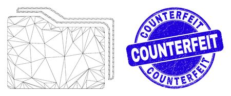 Web mesh folders icon and Counterfeit stamp. Blue vector rounded grunge seal stamp with Counterfeit title. Abstract carcass mesh polygonal model created from folders icon.